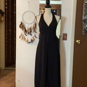 Adrian Karen Black halter high low maxi dress
